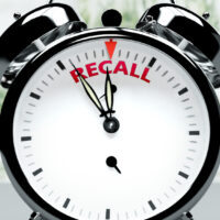 Recall soon, almost there, in short time - a clock symbolizes a reminder that Recall is near, will happen and finish quickly in a little while, 3d illustration